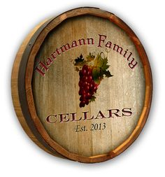 custom grapes color quarter barrel sign authentic oak barrel head plaque personalized for your wine themed home bar with a family cellars grape theme authentic oak red wine