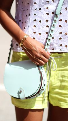 Mint crossbody - mint and yellow are a great combo. Especially with touch of silver or gray