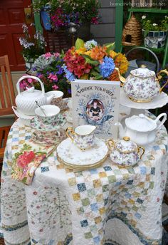 Vintage Tea Party by the Potting Shed |  6/15/2015 homeiswheretheboatis.net