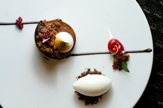 Chocolate Caramel Palet: Speculos Sable, Caramel Fondant, Vanilla Meringue, Cherry Compote, & Goat's Milk Ice Cream