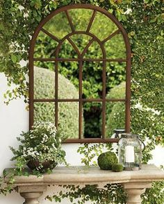Enjoy the space- and light-enhancing effects of mirrors made expressly for the great outdoors with our Window Garden Mirror. Vintage Garden Decor, Vintage Gardening, Organic Gardening, Hydroponic Gardening, Garden Mirrors, Garden Windows, Outdoor Mirrors Garden, Garden Walls, Small Gardens