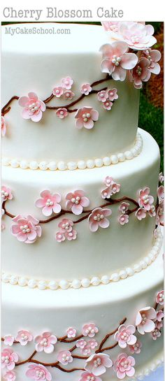 Elegant Cherry Blossom Cake Tutorial! Member Cake Decorating Video Tutorial by MyCakeSchool.com - Online Cake Decorating Tutorials, Videos, & Recipes!