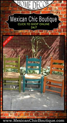 Mexican Decorations | Home Decorating Accessories | Mexican Furniture | Furniture | Home Decor | Mexican Art | Mexican Folk Art | Shop Now | Mexican Chic | Mexican Chic Boutique  ♥ 4 VINTAGE MEXICAN PAINTED CHAIRS $160.00