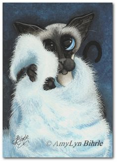 Created from one of my Original Paintings ~ AmyLyn Bihrle ♥●•٠·˙ Siamese Series #411    Title: Soft & Cuddly    ● Sizes available- Use drop down