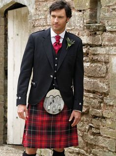Highland wear outfit includes any 16oz tartan (from the tartan swatch book available in-store). Prince Charlie Jacket with Matching Waistcoat, Dress Sporran with Chain, Leather Belt with Buckle to match Sporran cantle, Ghillie Brogues with leather upper, lining and sole (goodyear welted), Skean Dhu, Hose, Tartan Flashes and Kilt Pin.