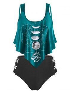 Plus Size Ruffle Moon Phase Print Tankini Swimwear Plus Size Tankini, Women's Plus Size Swimwear, Fashion Site, Men Fashion, Latex Fashion, Moon Phases, Bra Styles, Bikinis, Men's Swimwear