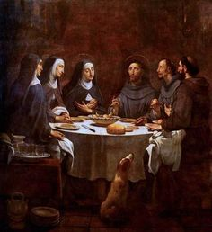 Antoni Viladomat Saint Francis and Saint Clare at Supper in the Convent of Saint Damian Catholic Art, Catholic Saints, Religious Art, St Francisco, Clare Of Assisi, Lives Of The Saints, Christian Paintings, St Clare's, Francis Of Assisi