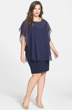 Free shipping and returns on Betsy & Adam Beaded Chiffon Overlay Dress (Plus Size) at Nordstrom.com. A curve-skimming sheath floats elegantly into the room with a caplet overlay of diaphanous chiffon. The captivation continues with a jewel-embellished neckline that scoops to an alluring finish in back.