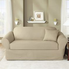 NIP $109 Sure Fit Twill Supreme 2 Piece Sofa Slipcover Flax #SureFit #Traditional