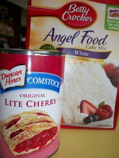 2 Ingredient Cherry (or any fruit) Angel Food Cake Cherry Angel Food Cake Recipe, Angel Food Cake Desserts, Angle Food Cake Recipes, Cake Mix Desserts, Cherry Desserts, Ww Desserts, Dump Cake Recipes, Dessert Recipes, Ww Recipes