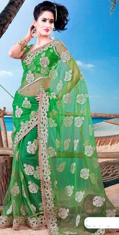 $73.98 Green Net Saree 21464 With Unstitched Blouse