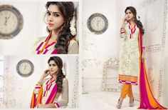 This lovely suit has pink and cream colored patch pattern on the neck line and cream colored floral embroidery on all over the top highlight the over all. The pink colored on the border and sleeves. The cream colored top is fabricated in cotton net, while the bottom is made of cotton fabric. The najneen fabric dupatta. This pretty suit for you.