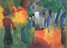 August Macke Sonnenuntergang nach dem Regen (Leute im Park), 1914