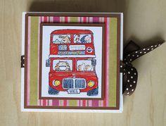Teebeutel-Heft, Geburtstag, London, Bus, Gutschein  Teabag holder with London bus