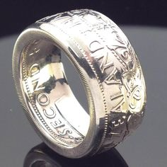 New Zealand Half Crown Coin Ring & Coin Jewelry, Jewelry Rings, Jewelery, Male Jewelry, Mens Jewellery, Custom Jewelry, Mens Ring Designs, Coin Art, Gypsy Rings