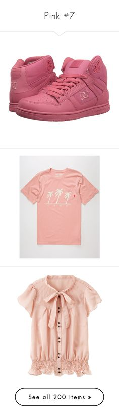 """Pink #7"" by booknerd1326 ❤ liked on Polyvore featuring shoes, synthetic shoes, patterned shoes, skate shoes, dc shoes footwear, lightweight shoes, men's fashion, men's clothing, men's shirts and men's t-shirts"