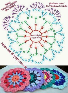 52 Ideas Crochet Mandala Diagram Charts For 2019 Motif Mandala Crochet, Crochet Circles, Crochet Blocks, Crochet Flower Patterns, Crochet Squares, Crochet Doilies, Crochet Flowers, Granny Squares, Crochet Coaster
