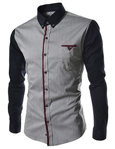 (HA60-GRAY) Slim Fit Stretchy 2 Tone Patched Pocket Long Sleeve Shirts, $34.99