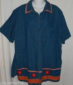 Delta Burke Shirt Size 1X Blouse Top Short Sleeves Blue Summer Cruise Jacket $11.55