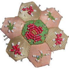Small Hexagonal Beadwork Pin Cushion c1880
