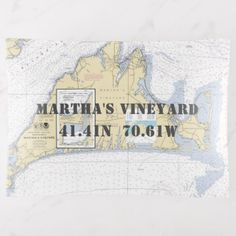 Martha's Vineyard MA Nautical Chart Coordinates Trinket Trays - blue gifts style giftidea diy cyo