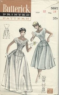 "An unused, original ca. 1950's Butterick Pattern 5697.  A graduation dress that can be worn to parties, too, is a real find…especially when it's ""Quick & Easy"" to sew.  (A)  Floor-length dress has the scooped bodice and skirt yoke in contrast.  (B)  Shorter version is all in one fabric."
