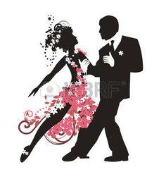 danse couple: Silhouette d'un couple dansant le tango Illustration