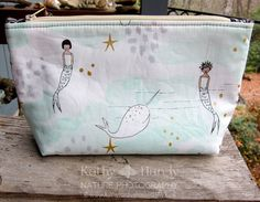 Zippered Pouch  Makeup Bag  Lined Zipper Bag  by DornickDesigns