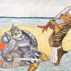 How fun is this !?! Commission portrait of the family Yorkie finally defeating his kitty nemesis in battle 😂 Prismacolor pencil. Costumed pet portraits also available in watercolor