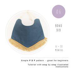 Baby bib. Boho Bib PDF sewing pattern. Reversible necklace bib tutorial