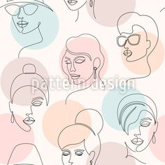 Minimalistic Faces Vector Pattern by Iuliia Skorupych at patterndesigns.com Vector Pattern, Pattern Design, Line Patterns, Woman Face, Line Art, Minimalist, Faces, Women, Shopping