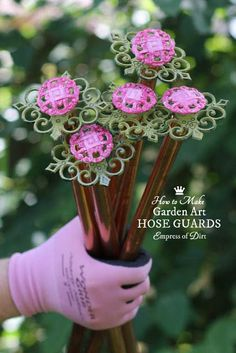 How to make pretty hose guards to keep your hose from destroying your flower beds. #gardencraft #gardendiy #garden #gardening
