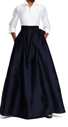 Adrianna Papell Women's Blouse High-Low Taffeta Gown Elegant Ball Gowns, Look Formal, Blouse And Skirt, Skirt Outfits, Flare Skirt, Blouses For Women, Adrianna Papell, High Waisted Skirt, Hipster