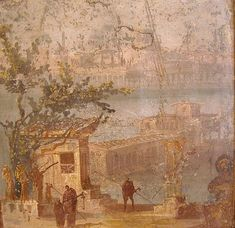 Landscape fresco from Pompeii or Herculaneum Ancient Pompeii, Pompeii And Herculaneum, Ancient Ruins, Ancient Art, Ancient History, Pompeii Ruins, Roman Artifacts, Historical Artifacts, Fresco