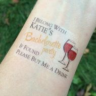 Wine Bachelorette Party Buy Me a Drink Temporary Tattoos