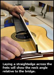 Laying A Straightedge Across The Frets Will Show The Neck Angle Relative To The Bridge Luthier Guitar Classical Guitar Guitar