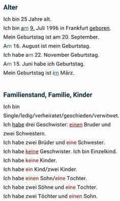 Alter und Familienstand Study German, German English, Learn German, Learn English, Latin Language, German Language Learning, German Grammar, German Words, Deutsch Language