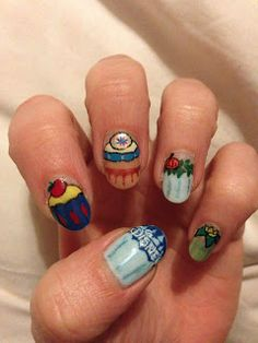Disney princess cupcake nails