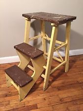 Vintage Folding Wooden Step Stool Ladder Wood primitive plant stand fold down