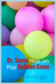 Celebrate Dr. Seuss's Day on March 2nd with this super fun Dr. Seuss Hop on Pop balloon game to your activity list! The kids love it! #frugalnavywife #drseuss #balloongame #gamesforkids #easydiy #easykidsactivity | Easy Game for Kids | Easy DIY Game | Kids Games | Dr. Seuss | Balloon Games | Dr Seuss Activities, List Of Activities, Kids Learning Activities, Dr Seuss Game, Dr Suess, Do It Yourself Projects, Do It Yourself Home, Easy Games For Kids, Activity List