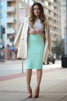 Ashes into Fashion: Kim Kardashian Inspired ( Mint Pencil Skirt + Oversized Coat)