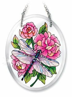 Amia 6172 Peonies and Dragonfly Design Hand-Painted Glass Suncatcher, 5-1/4-Inch by 4-Inch by Amia. $12.00. Includes chain. Beveled, hand-painted glass. Comes boxed, makes for a great gift. Amia Glass is a top selling line of handpainted glass decor. Known for tying in rich colors and excellent designs, Amia has a full line of handpainted glass pieces to satisfy your decor needs. Items in the line range from suncatchers, window decor panels, vases, votives and much more.