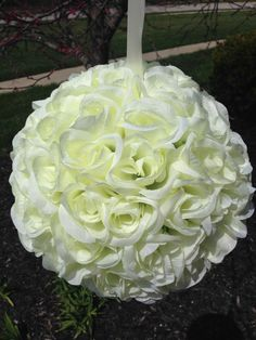 """Kissing Silk Rose Pomander Flower Ball Wedding Decoration 11"""" Diameter if you wanted to get these in silk I have the shepherd hooks to hang them from. Just a thought"""