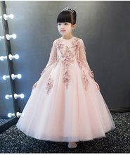 062a70f0aeb18 Nouveauté rose Tulle exquise dentelle princesse fille robe longueur  cheville baptême fête robe de bal filles