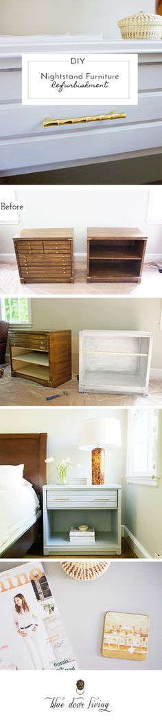 furniture refurbishment from outdated bookcases to modern gray nightstand with brass accents