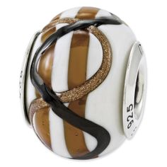 Sterling Silver Reflections White/Brown/Black Italian Murano Bead
