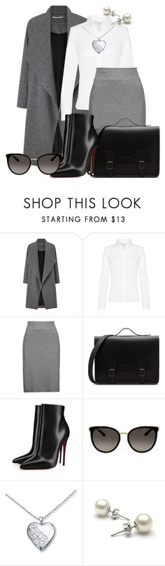 """Grey, White & Black"" by faeryrain ❤ liked on Polyvore featuring Miss Selfridge, Enza Costa, Christian Louboutin, Gucci and DusterCoats"