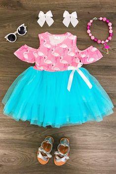 52ef99f811 Pink   Turquoise Flamingo Tutu Dress