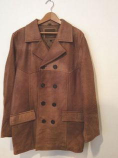 Rare Vintage NWT Lucky Brand Jeans Men's Double Breasted Leather Coat