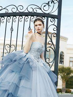 シンデレラ | プリンセスドレス | セカンドコレクション | ディズニー ウエディング ドレス コレクション Disney Princess Dresses, Princess Outfits, Disney Dresses, Colored Wedding Dresses, Bridal Dresses, Girls Dresses, Robes Disney, Girl Dress Patterns, Ball Gown Dresses